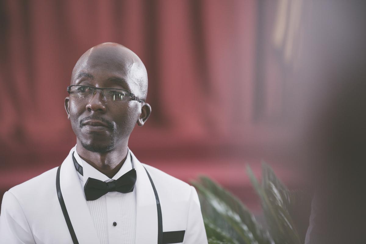Groom couldn't hold tears while Bride walking down the aisle at Ridgeways Baptist Church Lane, Nairobi