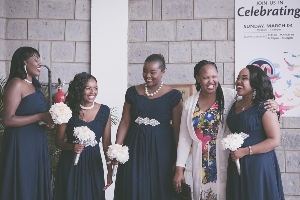 Joyous bridesmaids outside Ridgeways Baptist Church Lane, Nairobi