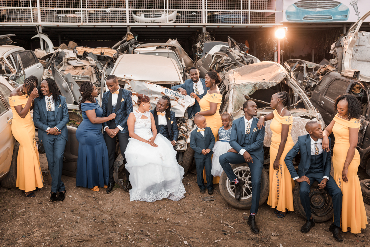 Classic Romantic Timeless Wedding :: Car Wreckage Garage Photoshoot